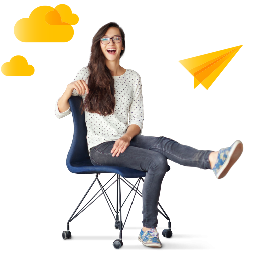 natural gas woman on a chair with icons