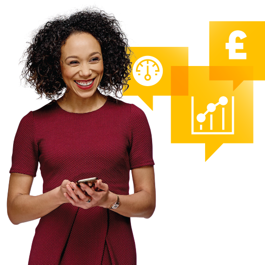 business energy woman with speech bubbles