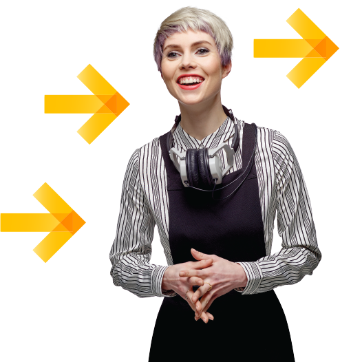 about us business woman with arrow icons